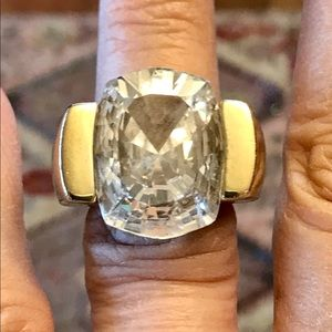 Jewelry - Massive CZ Solitaire gold over 925 Sterling